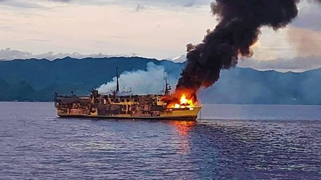 The Cokaliong Shipping Lines-owned ferry Filipinas Dinagat on fire off Cebu, July 23 (Philippine Coast Guard)
